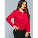 Buttoned Plaid Chiffon Blouse deal