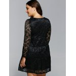 Floral Openwork Lace Flare Dress for sale