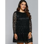 Floral Openwork Lace Flare Dress deal