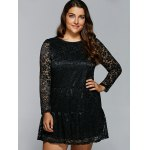 cheap Floral Openwork Lace Flare Dress