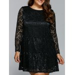 Floral Openwork Lace Flare Dress
