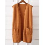 Buy Side Slit Front Pocket Plus Size Vest KHAKI