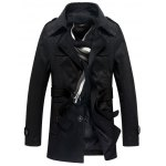 cheap Detachable Hooded Epaulet and Belt Embellished Single-Breasted Coat