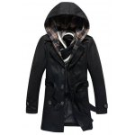 Detachable Hooded Epaulet and Belt Embellished Single-Breasted Coat