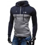 cheap Color Splicing Zip Up Drawstring Pullover Hoodie