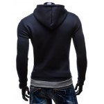 Color Splicing Zip Up Drawstring Pullover Hoodie deal
