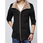 cheap Epaulet Embellished Single-Breasted Turn-Down Collar Fleece Coat