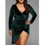Plunging Neck Slit Wrap Dress