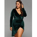 cheap Plunging Neck Slit Wrap Dress