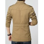 cheap Epaulet Embellished Oblique Suture Single-Breasted Turn-Down Collar Coat