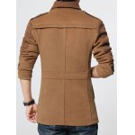 cheap Epaulet Embellished Knited Spliced Single-Breasted Stand Collar Woolen Coat