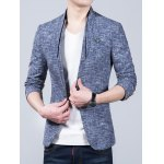 Heathered Stand Collar Sleeve Buttons Design Blazer