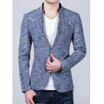 cheap Heathered Stand Collar Sleeve Buttons Design Blazer