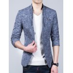 Heathered Stand Collar Sleeve Buttons Design Blazer deal