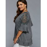 cheap Plus Size Lace Patchwork Flounced Blouse