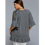 Plus Size Lace Patchwork Flounced Blouse deal