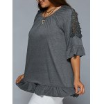 Plus Size Lace Patchwork Flounced Blouse