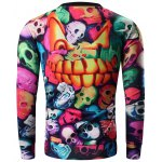 cheap Round Neck 3D Colorful Skull and Halloween Pumokin Print Long Sleeve Sweatshirt