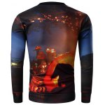 cheap Round Neck 3D Halloween Pumpkin Lamp and Skull Print Long Sleeve Sweatshirt