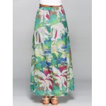 High Waisted Chiffon Printed Maxi Skirt for sale