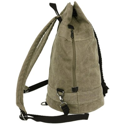 Simple Canvas and Drawstring Design Backpack For Men