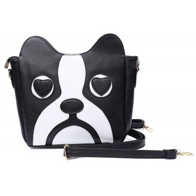 Sweet Kitten Pattern and Color Block Design Women's Crossbody Bag