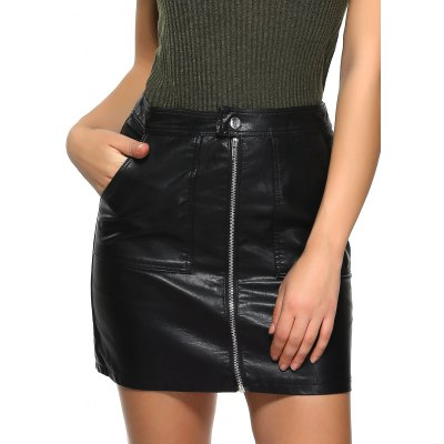 Zippered Bodycon Skirt with Pocket