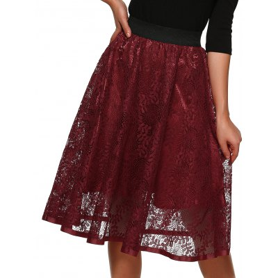 Hollow Out Midi Lace Skirt