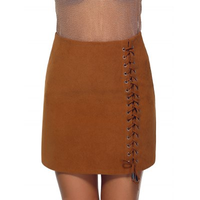 High Waist Lace-Up Skirt