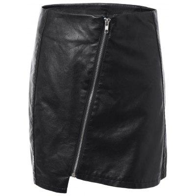 Faux Leather Zipper Asymmetric Skirt