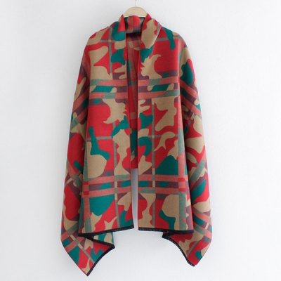 Camouflage and Plaid Pattern Shawl Pashmina