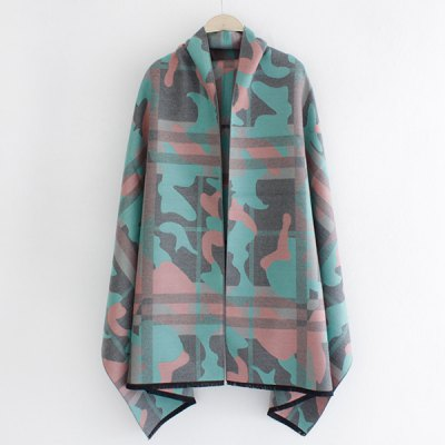 Fringed Edge Camouflage and Plaid Pattern Shawl Pashmina