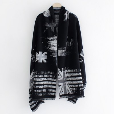 Union Flag Stripe Print Fringed Edge Shawl Pashmina