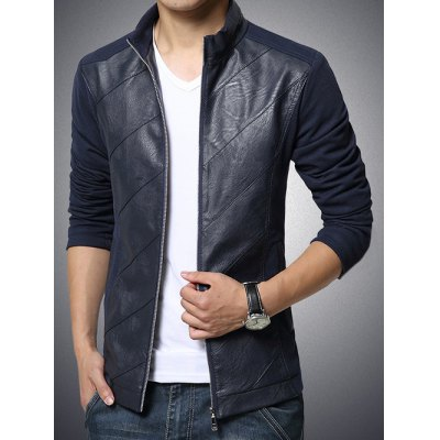 Stand Collar Spliced Design PU-Leather Zip-Up Jacket