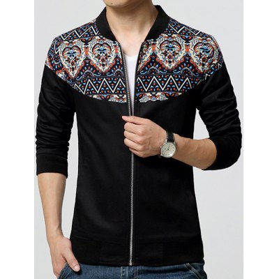 Stand Collar Ethnic Style Print Rib Spliced Zip-Up Jacket