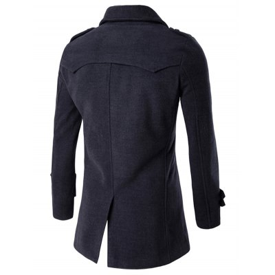 Slit Back Epaulet Design Long Sleeve Peacoat