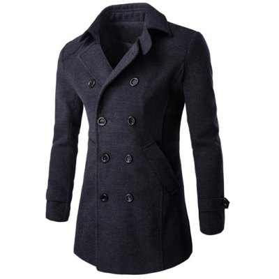 Half Back Belt Long Sleeve Button Cuff Peacoat