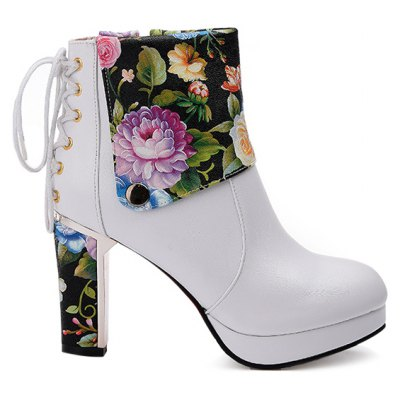Chunky Heel Floral Print Ankle Boots