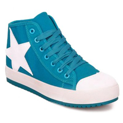 Star Pattern Lace-Up Athletic Shoes