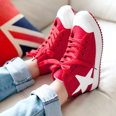 Color Block Star Pattern Lace-Up Athletic Shoes