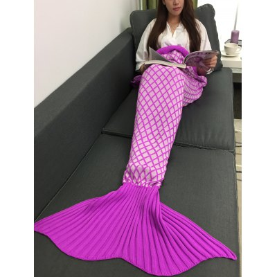 Rhombus Plaid Knitted Sleeping Bag Mermaid Taid Blanket