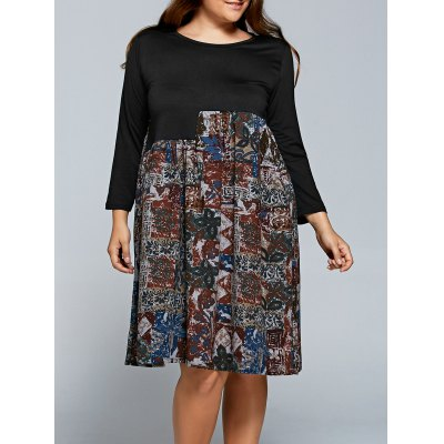 Printed Long Sleeve Plus Size Shift Dress