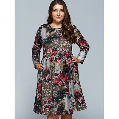 Plus Size Flower Print DressPlus Size Dresses<br>Plus Size Flower Print Dress<br><br>Style: Casual<br>Material: Polyester<br>Silhouette: A-Line<br>Dresses Length: Mid-Calf<br>Neckline: Round Collar<br>Sleeve Length: Long Sleeves<br>Pattern Type: Print<br>With Belt: No<br>Season: Fall,Spring<br>Weight: 0.341kg<br>Package Contents: 1 x Dress
