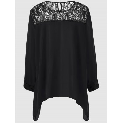 Plus Size Lace Splicing Asymmetrical BlousePlus Size Tops<br>Plus Size Lace Splicing Asymmetrical Blouse<br><br>Material: Polyester<br>Clothing Length: Regular<br>Sleeve Length: Full<br>Collar: Scoop Neck<br>Style: Casual<br>Season: Spring,Summer<br>Pattern Type: Patchwork<br>Weight: 0.213kg<br>Package Contents: 1 x Blouse