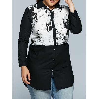 Plus Size Chinese Painting Print Shirt