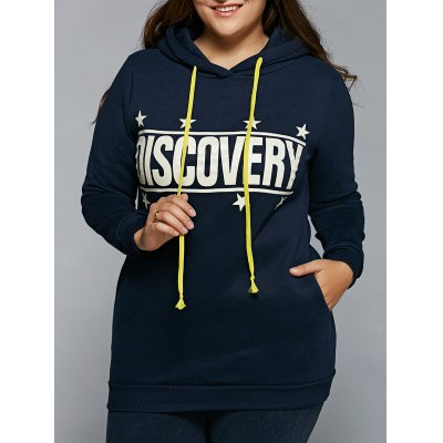 Plus Size Star Letter Print Fleece Long Hoodie