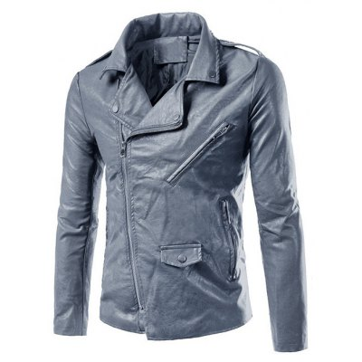 Plus Size Epaulet Design PU-Leather Turn-Down Collar Zip-Up Jacket