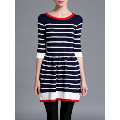 Striped Color Block Sweater Dress
