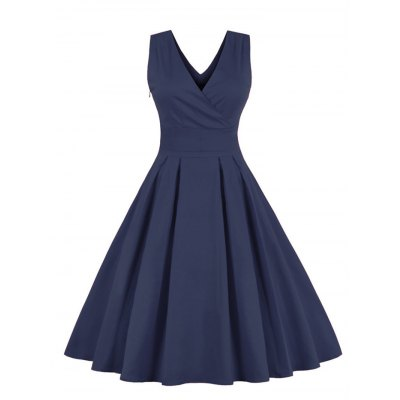 Retro Back Bowtie Sleeveless Tea Length Skater Dress