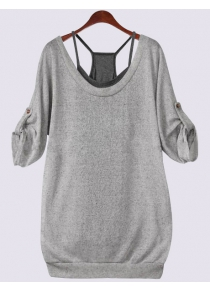 Scoop Neck Half Sleeve Lace-Up Hollow Out T-Shirt and Tank Top Twinset